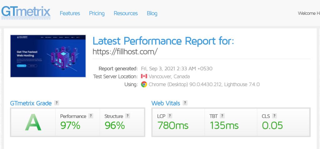 FillHost GTmetrix Performance Report